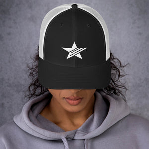 EPIC Retro Mesh Cap | Black-White | Adjustable | White Epic Star | One Size Fits Most