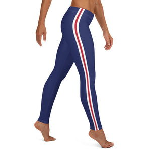 Women's EPIC Tech Leggings | Navy - Red-White Stripes | Regular Waist | Sizes: XS - XL