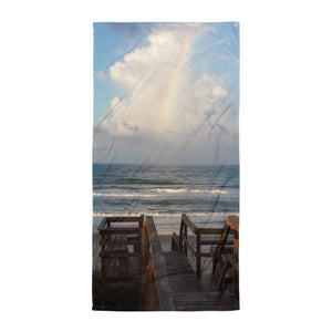 "Super Soft Beach Towel | EPIC Rainbow at Coquina Key Walkover | 30"" x 60"""