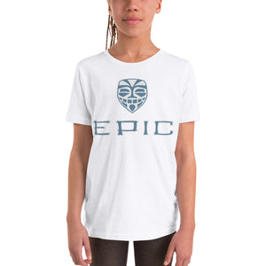 Unisex EPIC Youth Short Sleeve T-Shirt | White | Slate Blue-Light Grey Tiki Epic-Epic Tiki | Sizes: S - XL