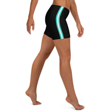 Load image into Gallery viewer, Women's EPIC Tech Shorts | Black - Turquoise-White Stripes | Regular Waist | Sizes: XS - 3XL