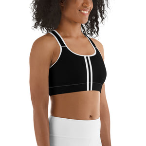 Women's EPIC Tech Sports Bra | Black - Black-White Stripe | Scoop Neck - Racerback | Sizes: XS - 2XL (front view)