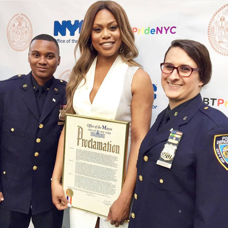 Laverne Cox accepts NYC award in Glamrocks Jewelry!