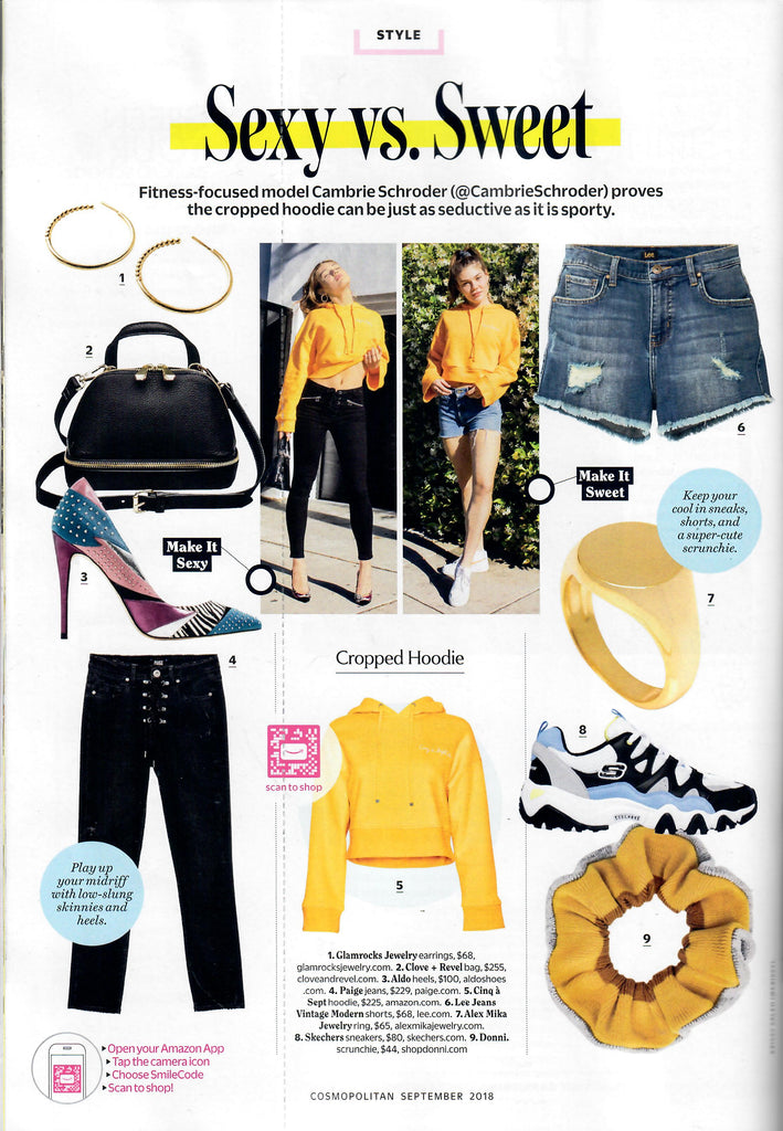 September 2018 Cosmopolitan Magazine Style guide with Glamrocks Jewelry rattlesnake hoop earrings