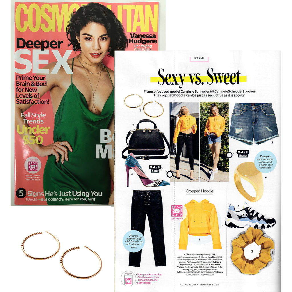 Vanessa Hudgens on September 2018 issue of Cosmopolitan Magazine with insert for Glamrocks Jewelry