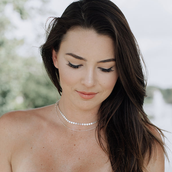 Jen Saviano wears silver Glamrocks Jewelry necklace