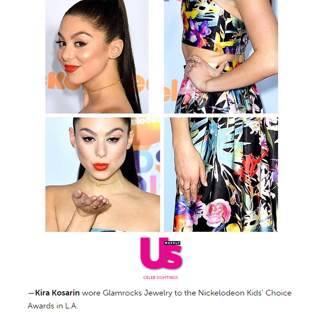 US Weekly snippet showing Kira Kosarin wearing Glamrocks Jewelry