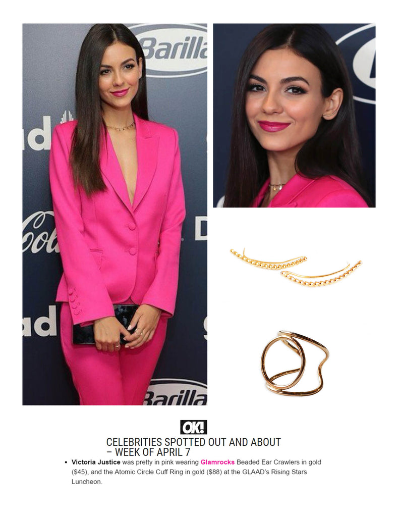 OK! Magazine spotted Victoria Justice wearing Glamrocks jewelry