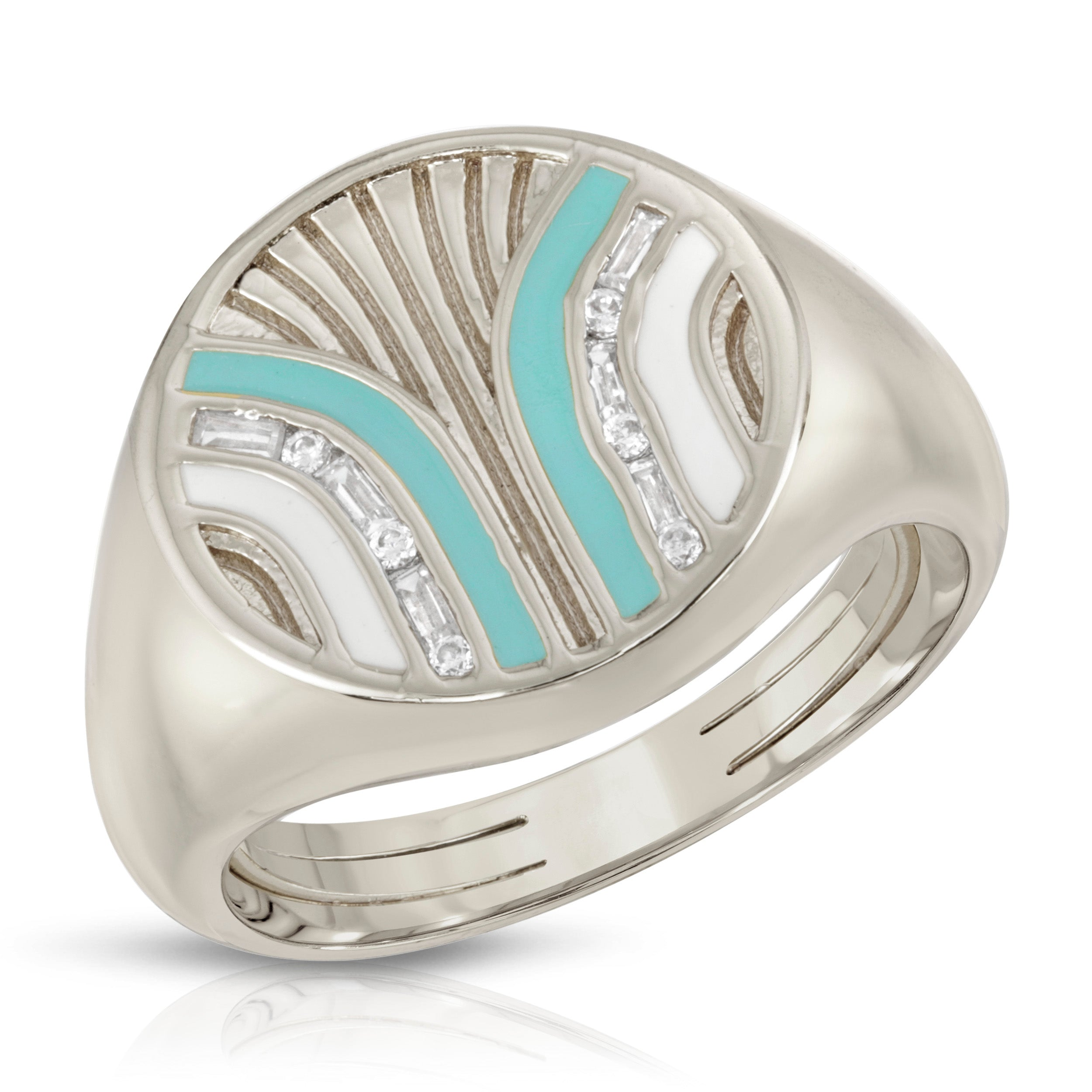 South Beach Signet Ring- Turquoise/White