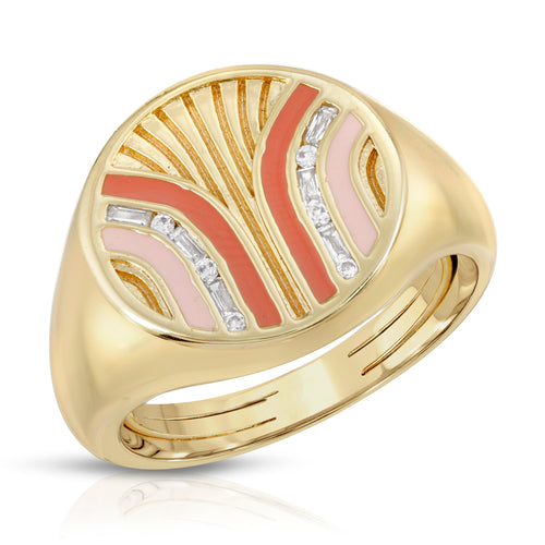 South Beach Signet Ring- Coral/Cinnamon