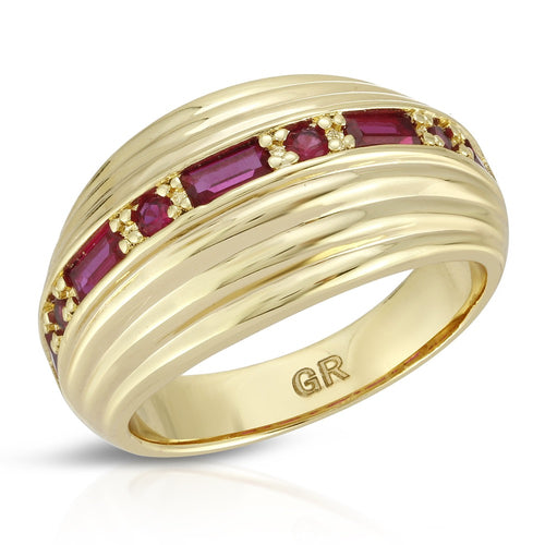 Inner Light Dome Ring- Ruby