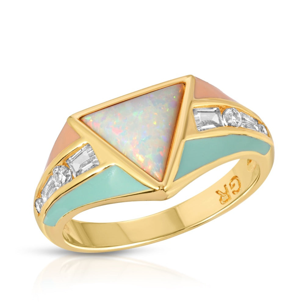Bright Side Ring - Coral/Mint