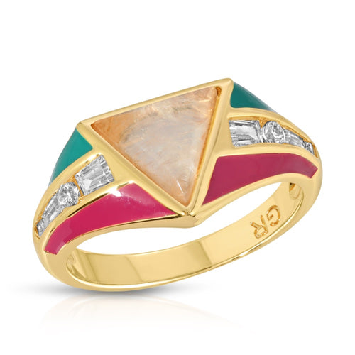 Bright Side Ring - Teal/Fuchsia