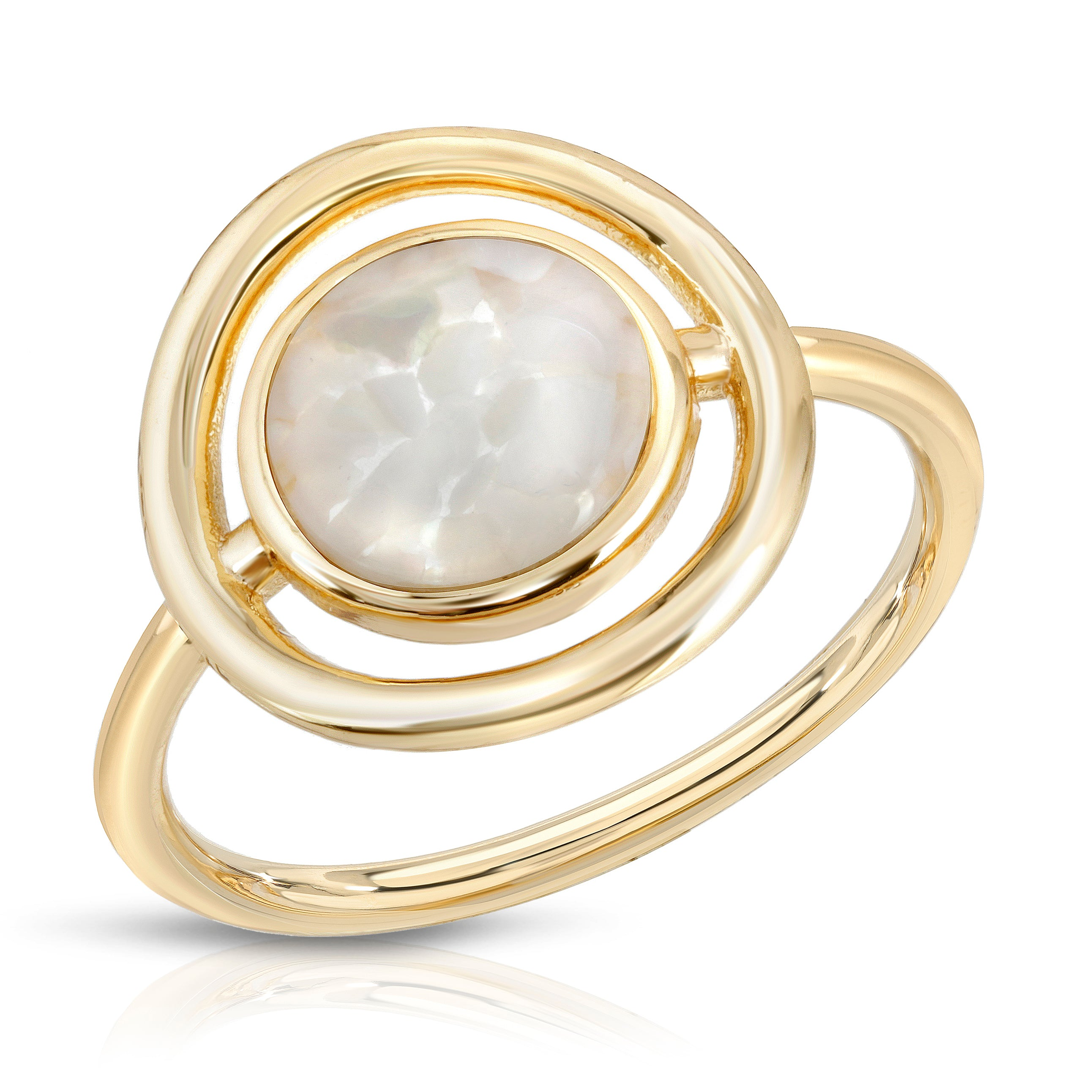 Eclipse Ring- Cracked Mother of Pearl