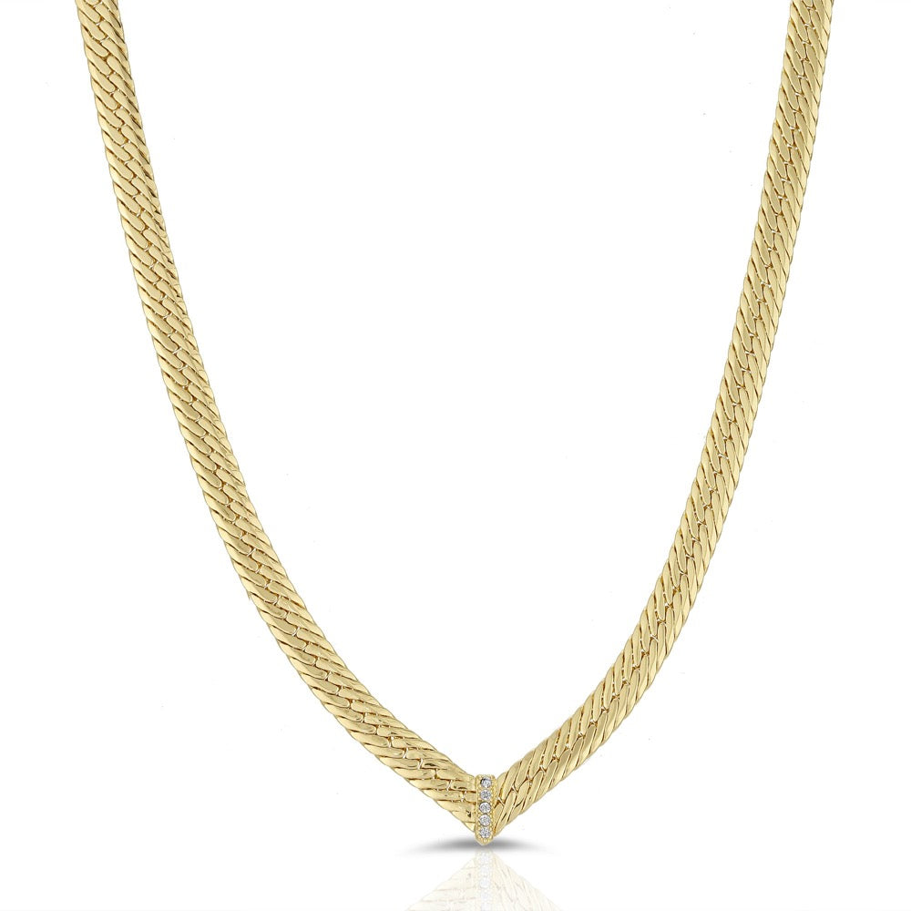 CZ Chevron Herringbone Necklace- Clear