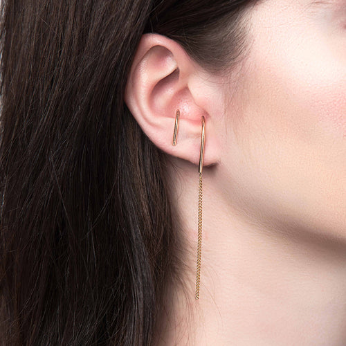 Suspension Chain Earring, Gold or Silver