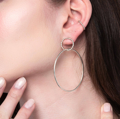 Beaded Double Hoop Earrings, Gold, Rose Gold, or Silver