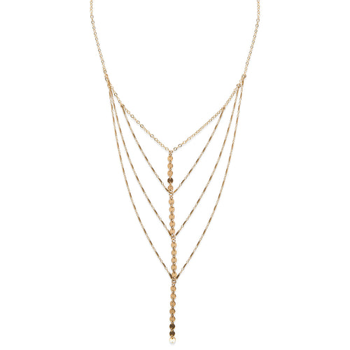 Palm Lariat Necklace, Gold or Silver