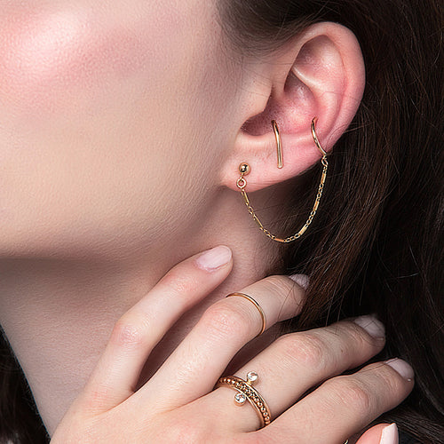 Arcos Chain Ear Cuff, Gold or Silver
