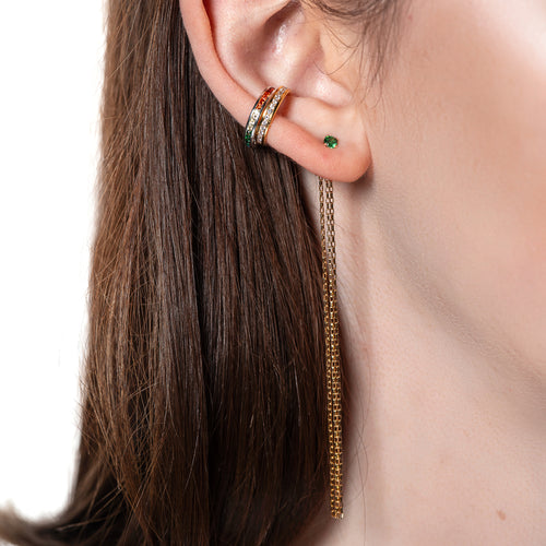 Gemstone Fringe Ear Jackets, Emerald