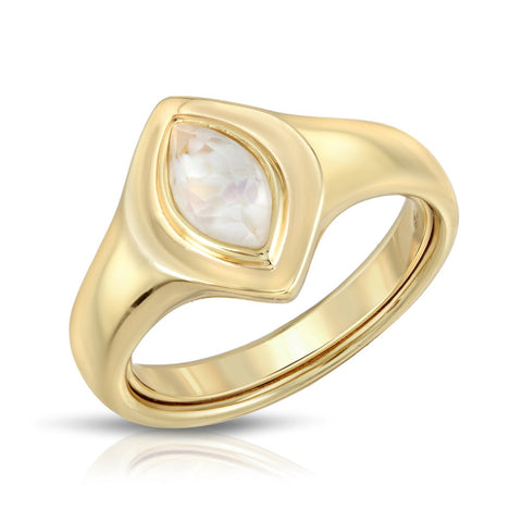 Marquise Signet Ring - Watermelon Quartz