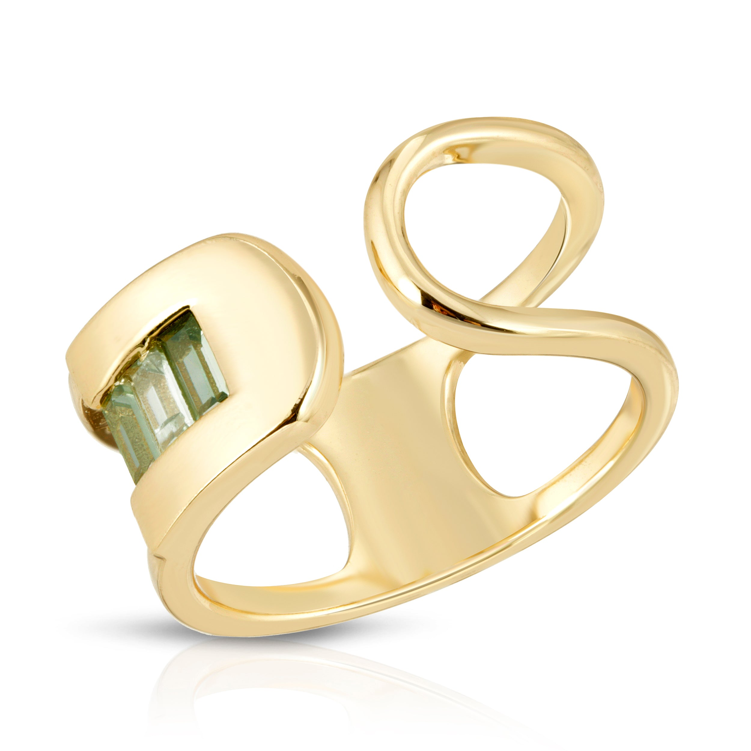 Century Safety Pin Ring - Green CZ