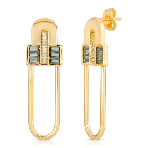 Century Safety Pin Earrings - Clear CZ