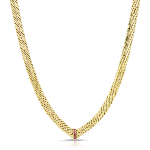 CZ Chevron Herringbone Necklace- Ruby