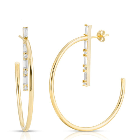 Mini Marquise Dangle Hoops - Mother of Pearl