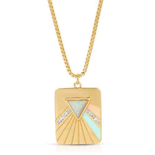 Bright Side Necklace - Coral/Mint