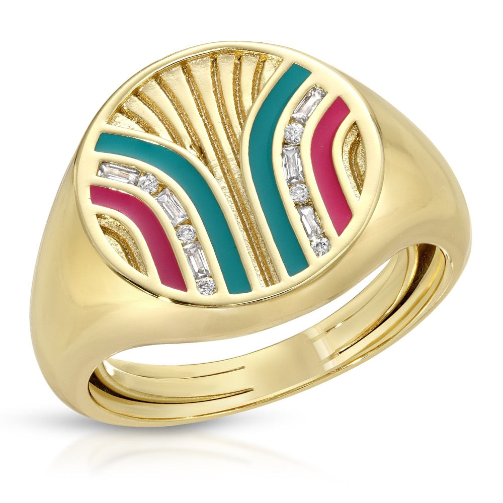 South Beach Signet Ring - Teal/Fuchsia