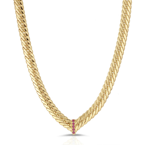 CZ Chevron Statement Necklace- Ruby