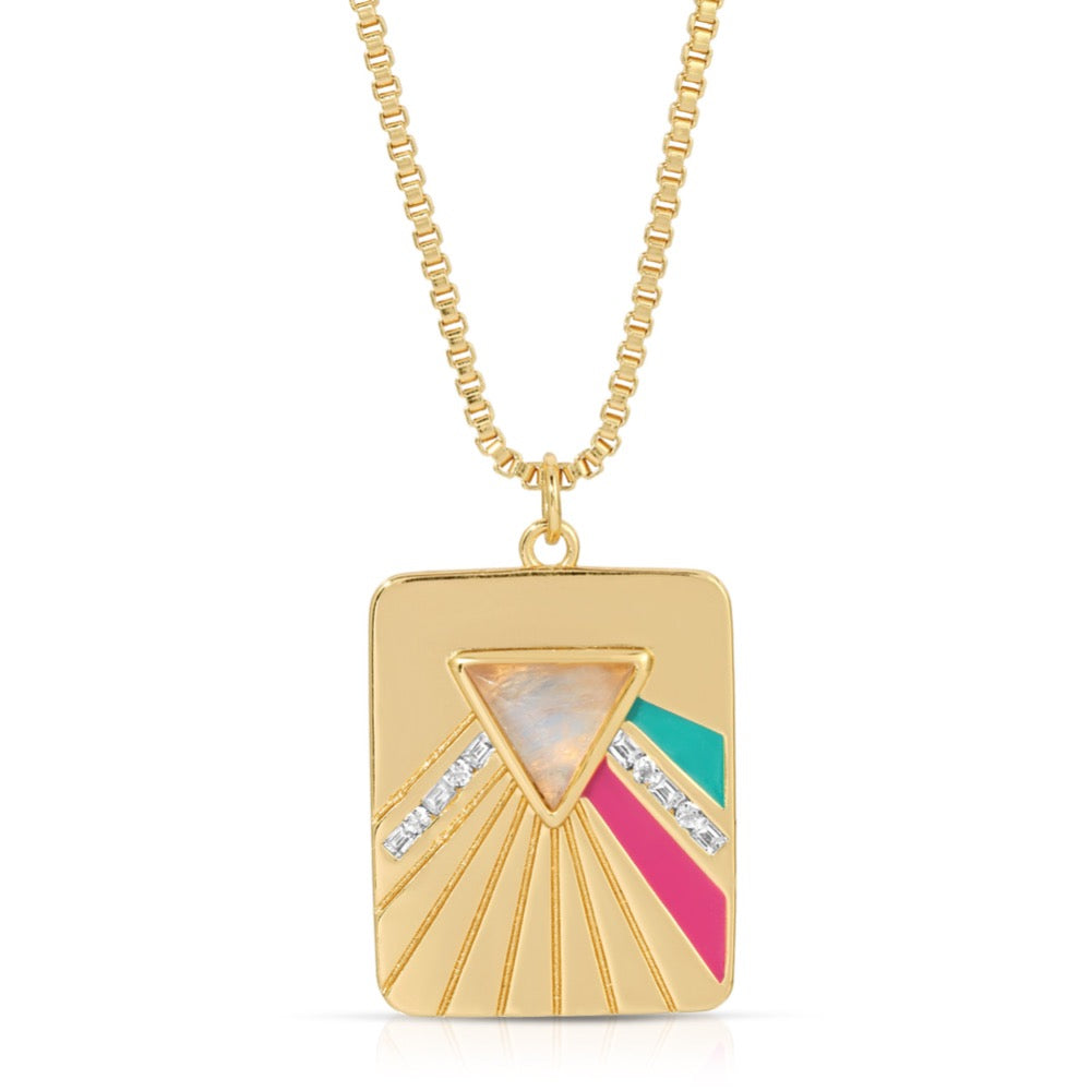 Bright Side Necklace - Teal/Fuchsia