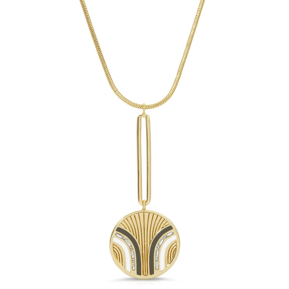 South Beach Pendulum Necklace - Grey/White