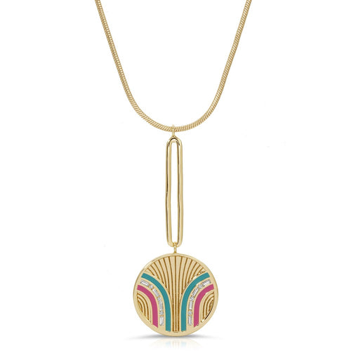 South Beach Pendulum Necklace - Teal/Fuchsia