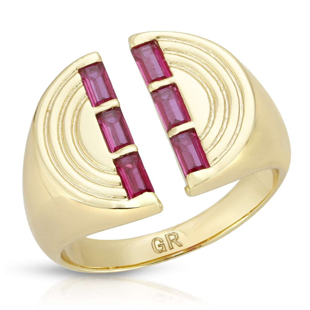 The Edge Signet Ring- Ruby