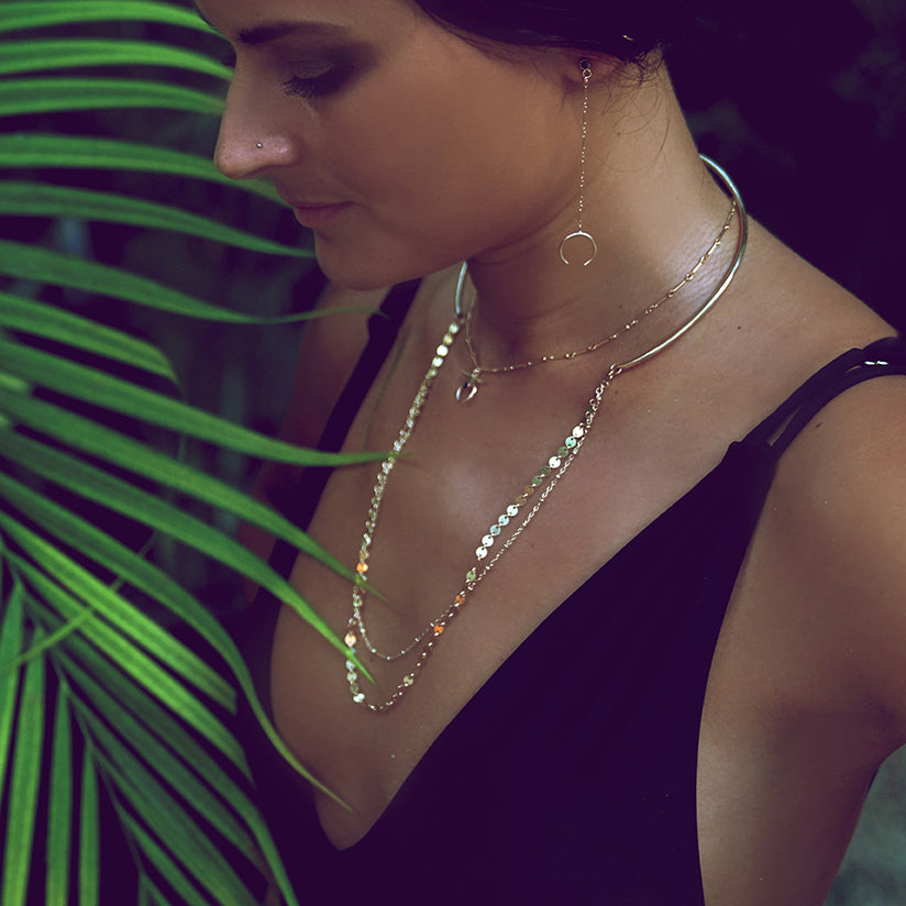 Double Disco Chain Choker, Gold or Silver