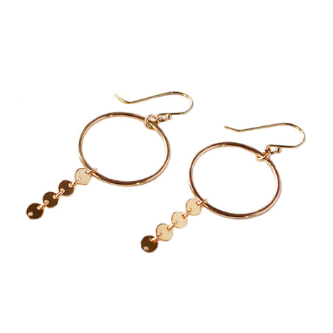 Disco Dangle Hoop Earring, Gold, Rose Gold, or Silver