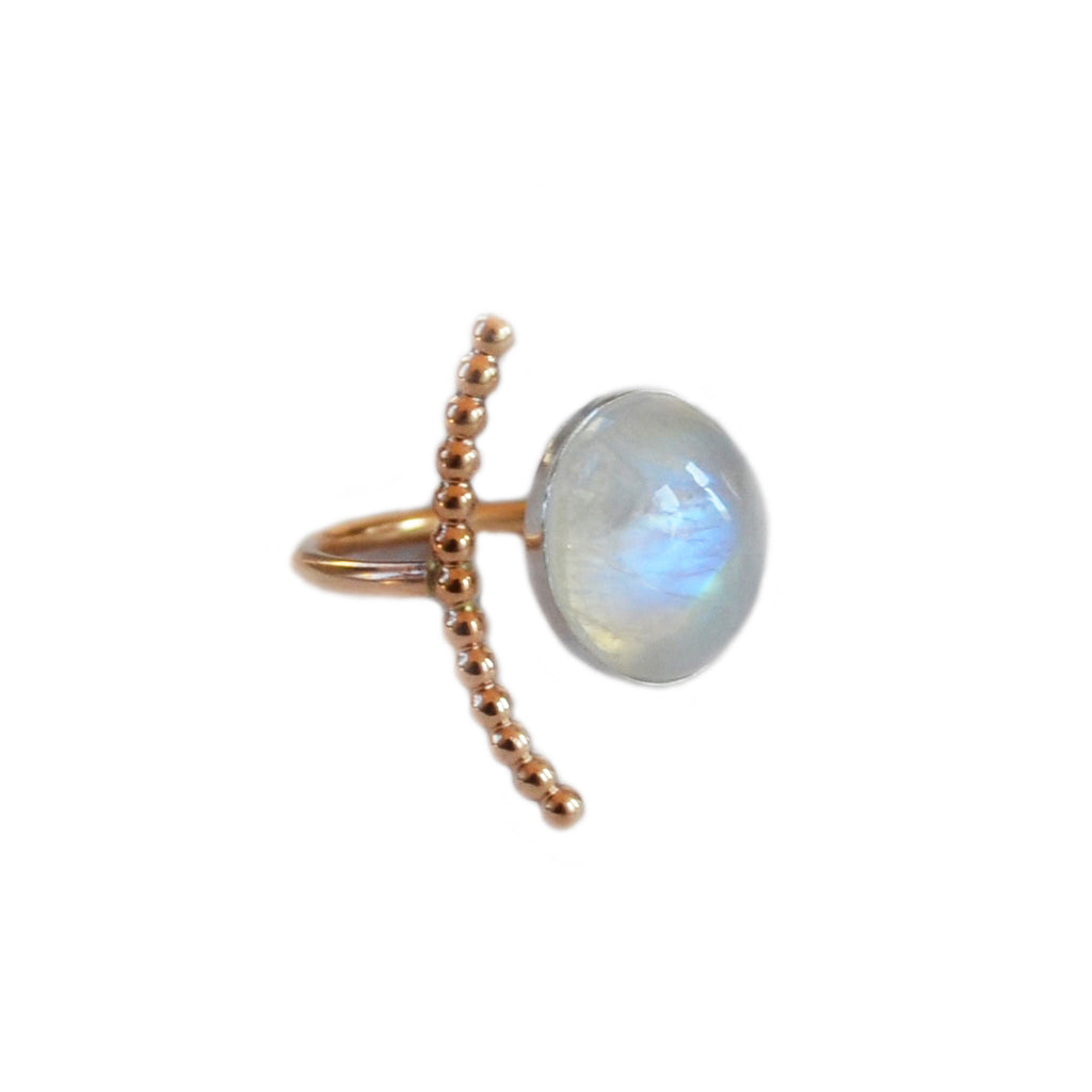 Moonstone Half Moon Ring, Gold or Silver