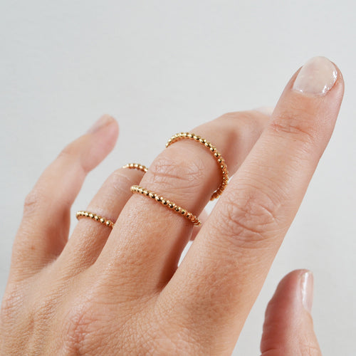 Beaded Double Knuckle Ring, Gold, Rose Gold, or Sterling Silver