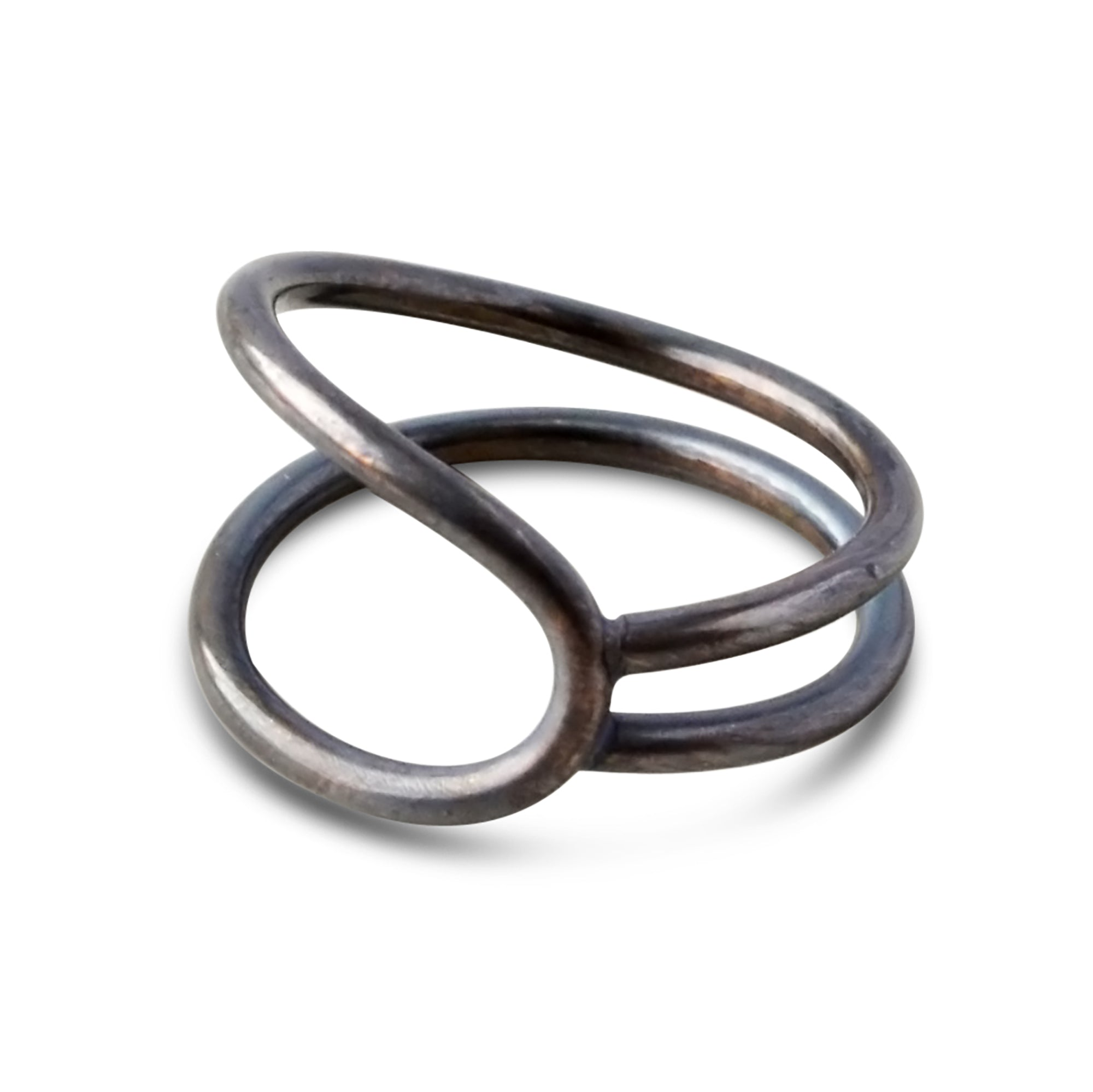 Unisex Oxidized Lasso Ring