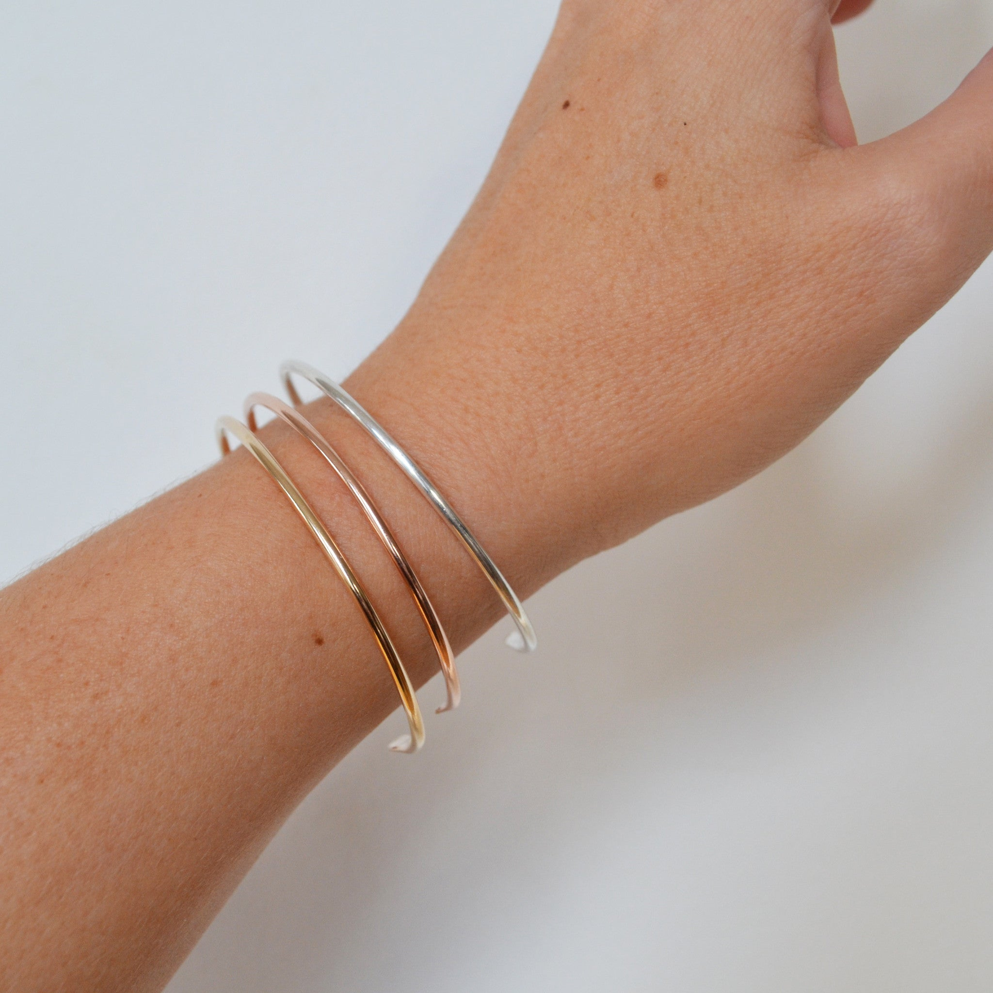 Simple Cuff Bracelet, Gold, Rose Gold, or Silver