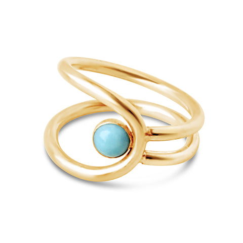 Century Safety Pin Ring - Aqua CZ
