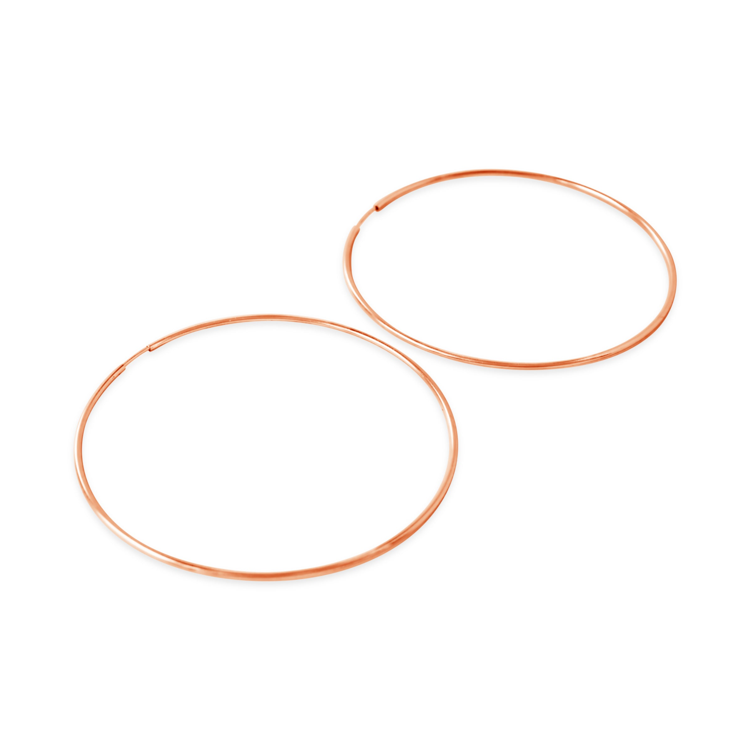 Thin Endless Hoop Earrings, Gold or Rose Gold