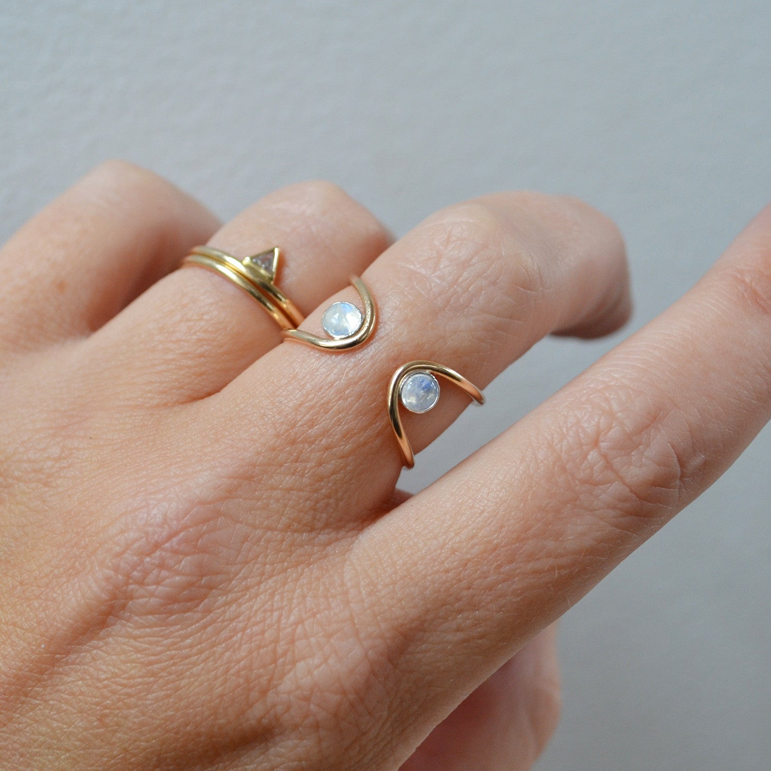 Double Orbit Moonstone Ring, Gold or Silver
