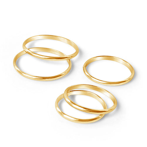 Gift set with five gold rings
