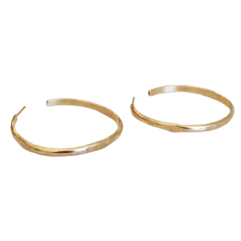 Wide Suspension Hoop, Gold, Rose Gold, or Silver