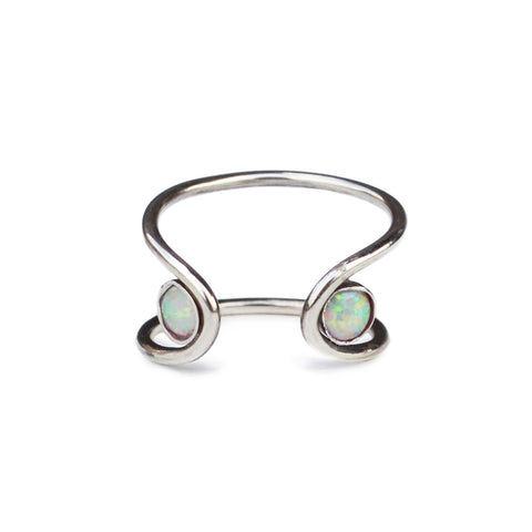 Double Opal Orbit Ring, Gold or Silver