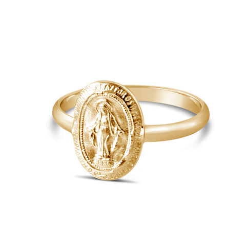 Oval Virgin Mary Ring, Gold or Silver