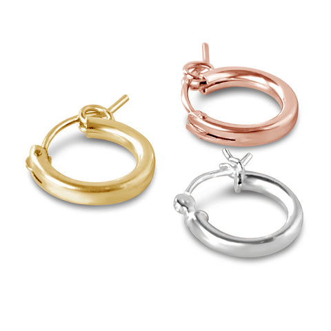 70's Initial Huggie Hoops, Gold or Silver